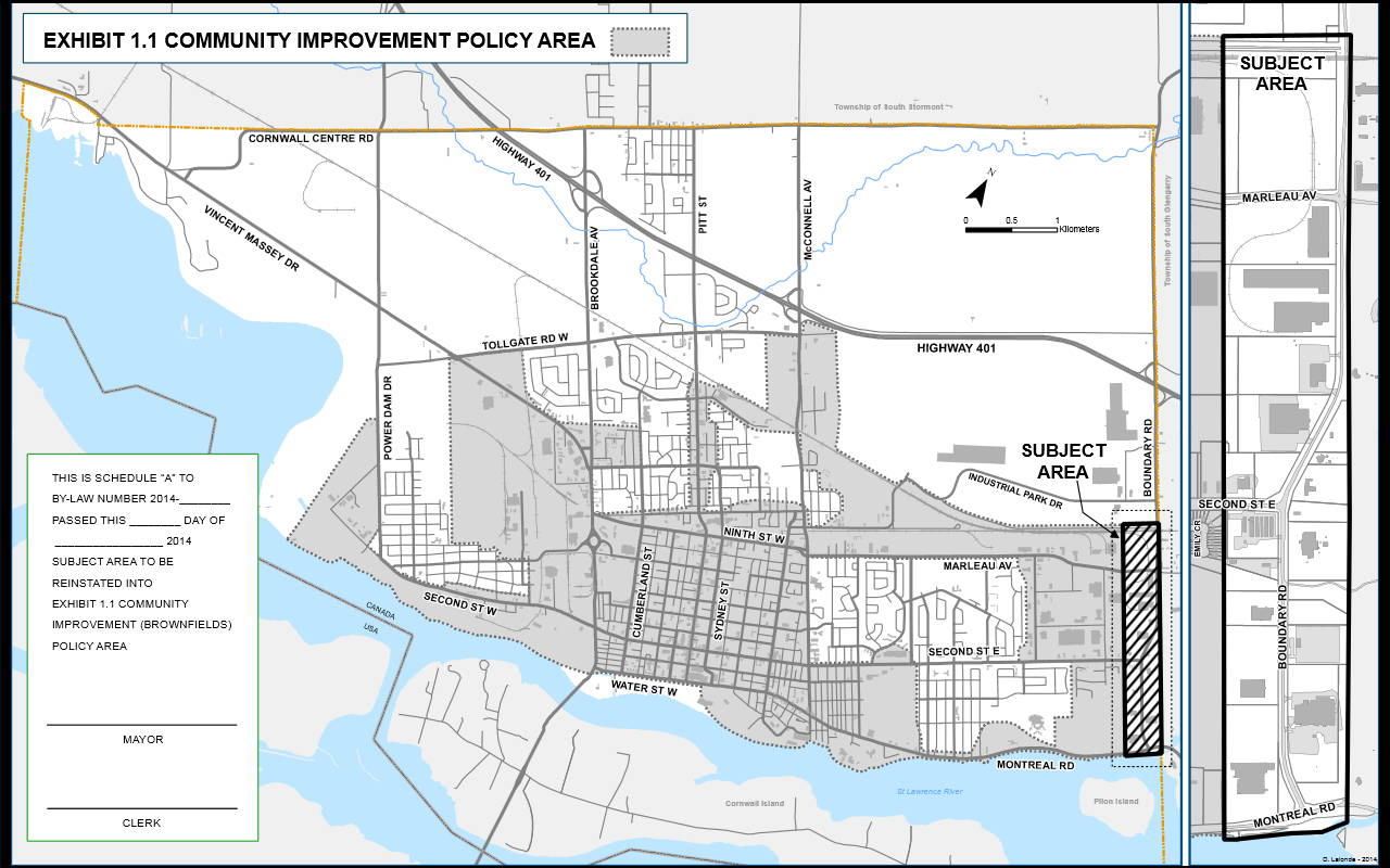 Cornwall's Planning Advisory Committee will consider adding this strip of land along Boundary Road (cross-hatched in the diagram) to be eligible for brownfield development incentive programs at a public meeting Monday Nov. 17. (City of Cornwall)