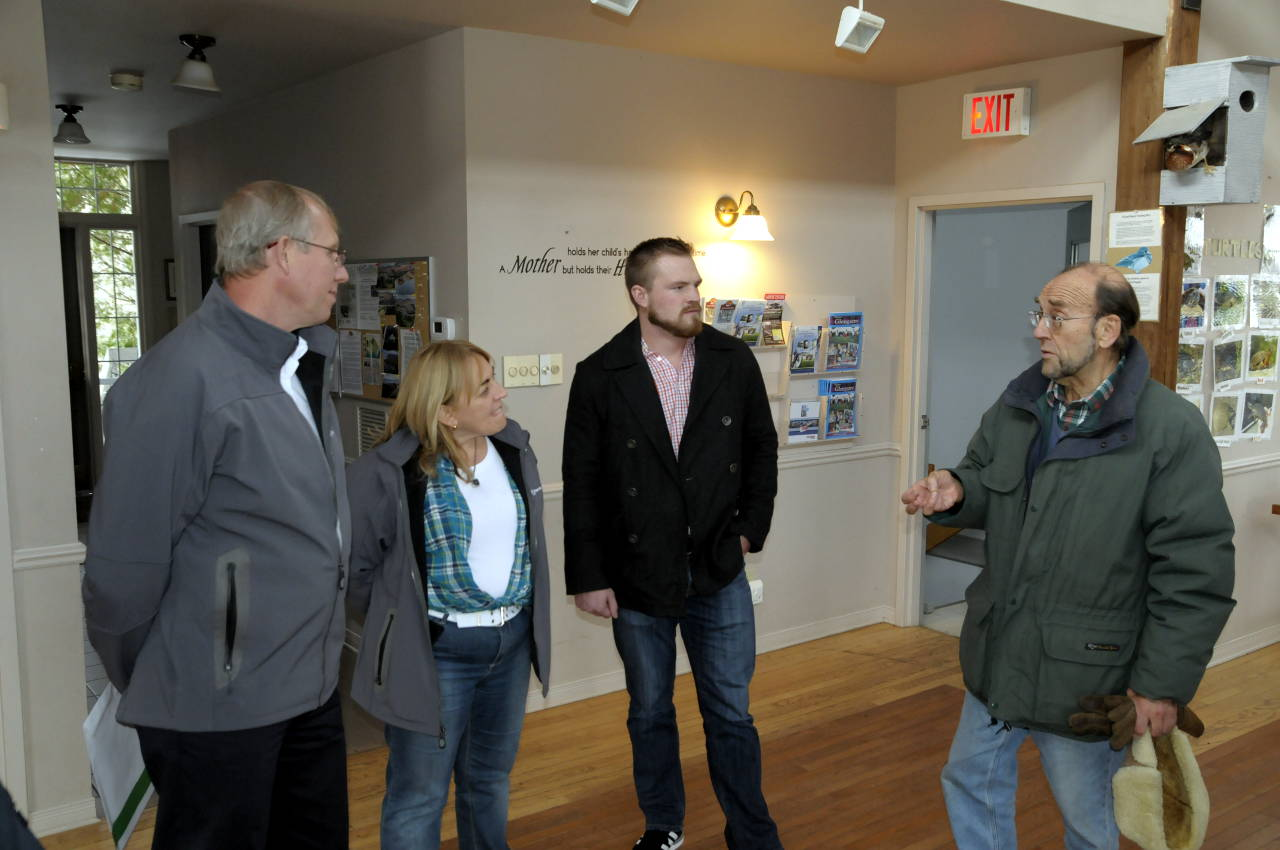 Cooper Marsh Conservators fundraising chairman Robin Poole (right) discusses their recent upgrades to the wetland with (from left) TransCanada VP Energy East Gary Houston and Community Relations Leads Nathalie Guay and Jon Pitcher. (Cornwall Newswatch)
