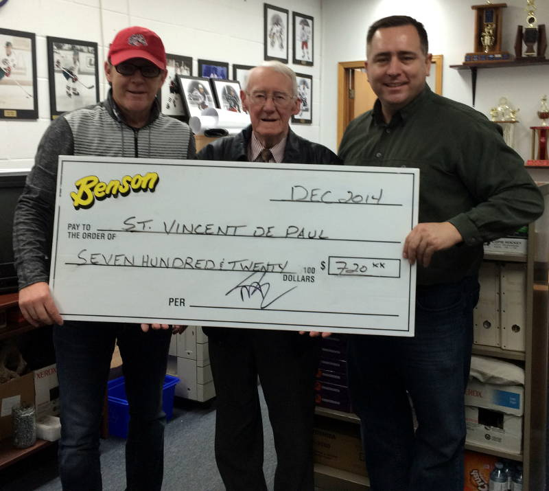 The Cornwall Colts held a charity game for the St. Vincent du Paul Society. Making the cheque presentation are, from left, Ian MacInnis, Colts Owner & Head Coach, Ron Healy St Vincent de Paul and David Murphy, Marketing Colts & Benson Group. (Photo/Cornwall Colts)