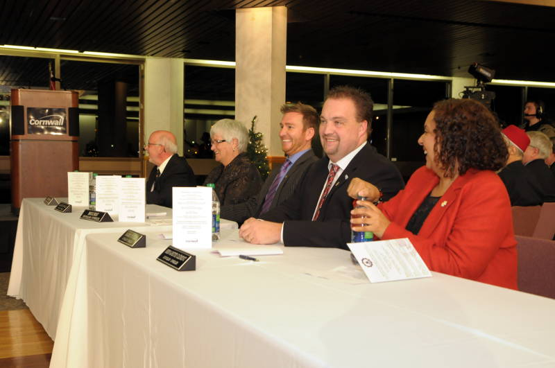 Pictured, from left, are Couns. Claude McIntosh, Elaine MacDonald, Brock Frost, Maurice Dupelle and Bernadette Clement. The 2014-2018 Cornwall city council was sworn in Dec. 1, 2014. (Cornwall Newswatch/Bill Kingston)