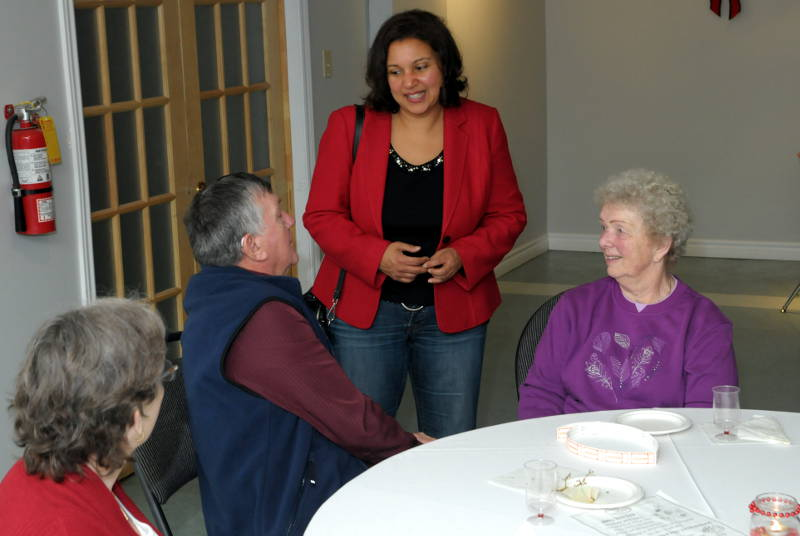 Cornwall Coun. and Liberal Bernadette Clement speaking to party supporters at the riding association's Christmas party Dec. 14, 2014. Clement says she's undecided on whether to run in the 2015 federal election. (Cornwall Newswatch/Bill Kingston)