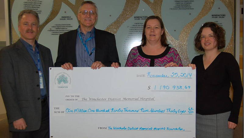 Taking part in the cheque presentation are, from left, Cholly Boland, WDMH CEO; Stephen McClellan, WDMH Board Chair; Anne Van Delst, Interim Foundation Board Chair and Kristen Casselman, Donor Care Representative, WDMH Foundation. (Photo/WDMH)