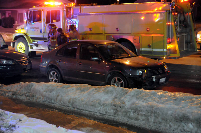 This Volkswagen Jetta has front end damage after a two vehicle crash on McConnell Ave. at Eleventh Street East on Jan 21, 2015. (Cornwall Newswatch/Bill Kingston)