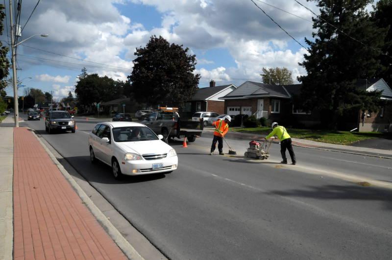 Bike Lanes Line-Painting-2ndStreetEast-Oct0814-Edited
