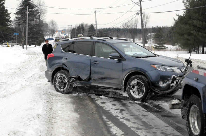 The Toyota SUV with major damage to the passenger side after a two-vehicle crash in the 2900 block of McConnell Avenue on Feb. 18, 2015. (Cornwall Newswatch/Bill Kingston)
