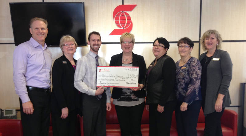 Scotiabank provides matching funds to the United Way for the 12th Annual Seaway International Wine Festival held on Jan. 17, 2015. (Photo/United Way)