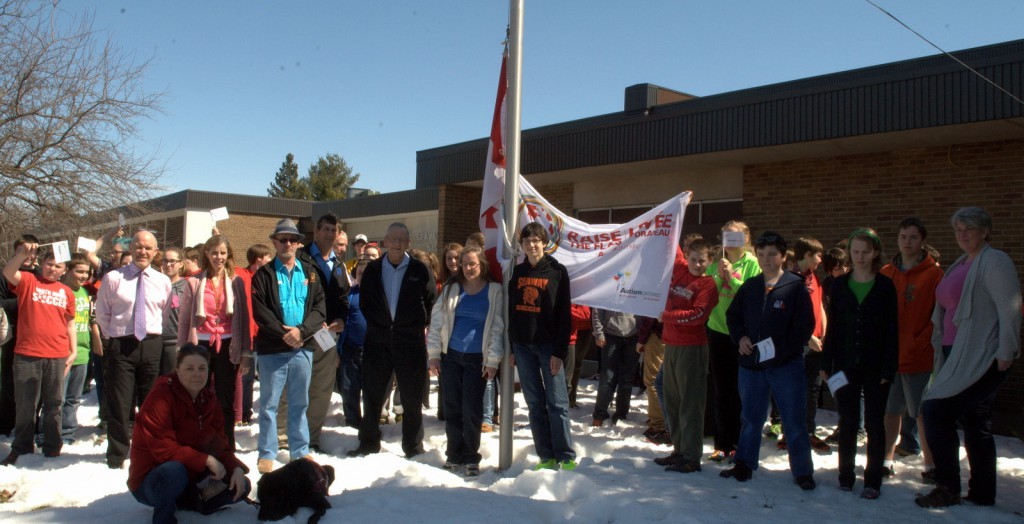 "Students, staff and members of the community celebrate World Autism Day with the ""Raise the Flag"" event at Seaway District High School. - Photo by Phillip Blancher/Cornwall Newswatch"
