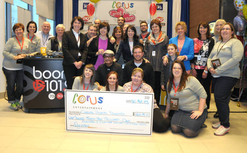 Members of Corus Entertainment and the Cornwall Hospital Foundation pose with a cheque representing $133,000 in donations during the 2015 Corus Caring Hearts Radiothon on April 2, 2015. The money will be used to build a new chemotherapy unit at the hospital, which should be operating by December. (Cornwall Newswatch/Bill Kingston)