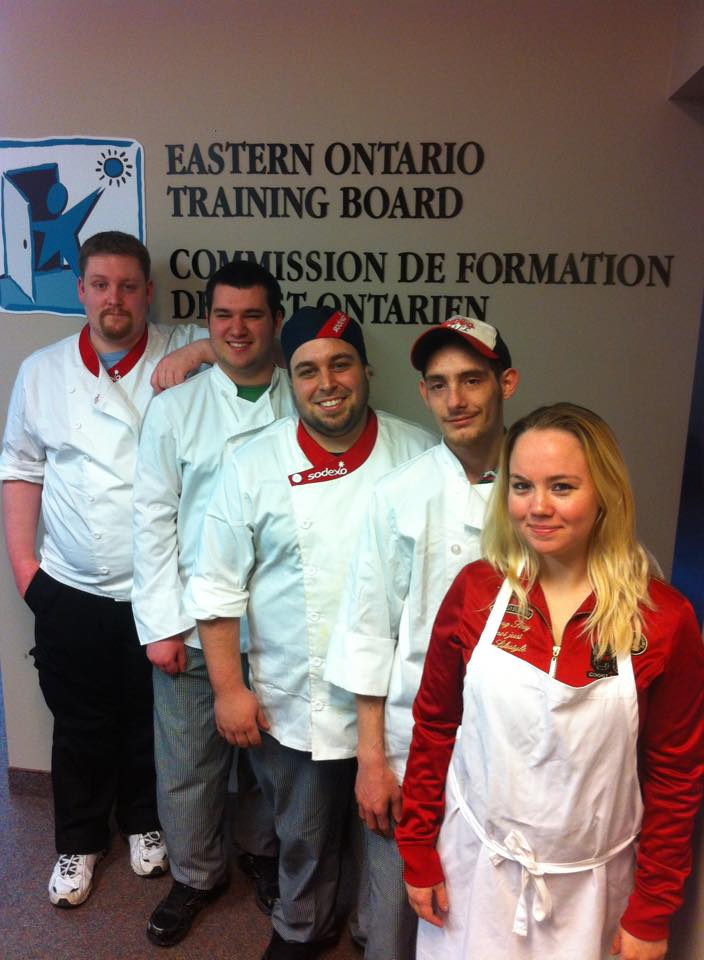 Six grads from the EOTB Kitchen Helper program are now part of the workforce. They are, from left, Daniel Ward, Brendan Graveley, Guy Gougeon, Matthew Derouchie-Delorme, Chaney Lauzon and Jessica Neville (not pictured due to commitments at her new job). (Photo/EOTB)