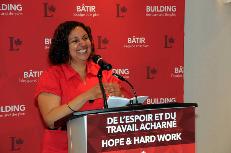 A beaming Bernadette Clement thanks her supporters at Nav Center on June 23, 2015 after winning the SDSG Liberal nomination for the upcoming election. Clement vows to add some classic elements to her campaign, which could result in a slimmer lady come Election Day in October. (Cornwall Newswatch/Bill Kingston)
