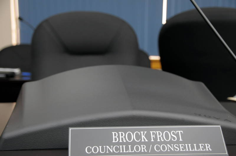 Coun. Brock Frost's empty council seat on June 8, 2015. The Cornwall councillor has told the media he is resigning as of July 1, 2015. (Cornwall Newswatch/Bill Kingston)