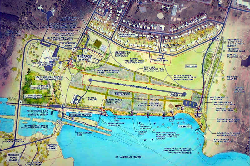 The overall concept plan for Iroquois Commons, a waterfront redevelopment plan. The project would cost a total of $3.8 million with the option of adding another $1 million. (Cornwall Newswatch/Bill Kingston)