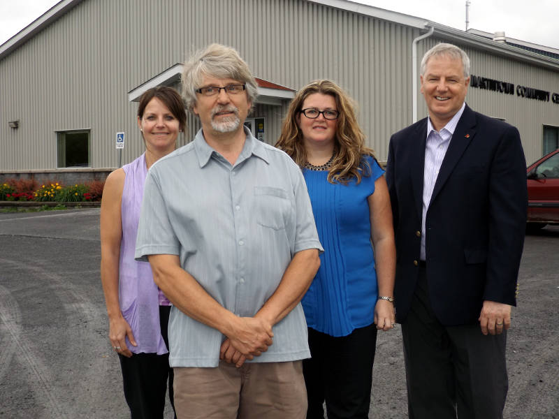 Pictured, from left, Anne Ward, South Glengarry Recreation Facilitator; Paul Clarke, Martintown Goodtimers President; Joanne Haley, South Glengarry General Manager of Community Services; and MPP Jim McDonell. The province is giving South Glengarry $23,500 to come up with a plan to meet the needs of its senior population. (Photo/South Glengarry)