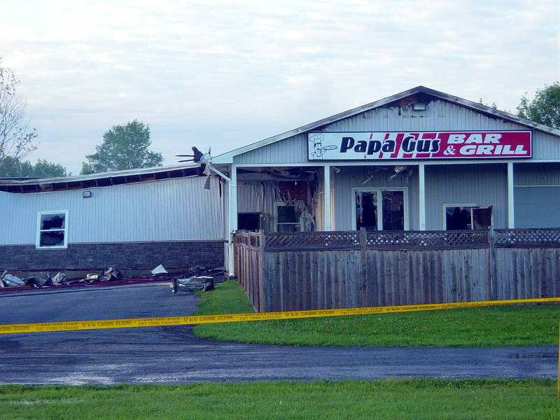 An early morning fire on June 22, 2015 destroyed this popular bar and pizza place in Chesterville, Ont. The Ontario Fire Marshal's office is investigating. (Photo/April Harper)