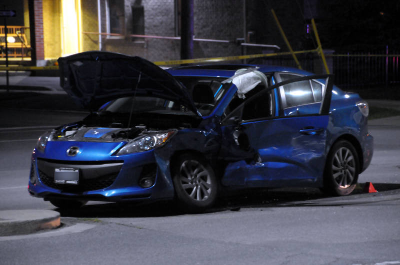 The force of a two-vehicle crash set off the airbags in this Mazda 3 in this afternoon crash at the intersection of Cumberland and Water Streets on July 21, 2015. (Cornwall Newswatch/Bill Kingston)