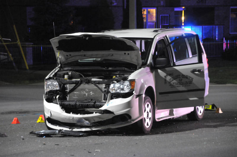A passenger in this van has died of their injuries in hospital after a two-vehicle crash at the intersection of Cumberland and Water Streets on July 21, 2015. (Cornwall Newswatch/Bill Kingston)