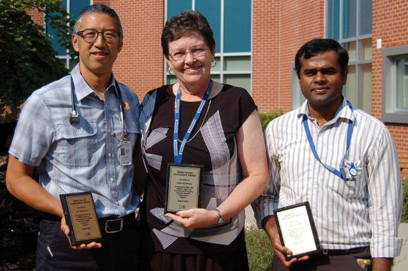The excellence award winners at the Winchester hospital are, from left, Dr. Chuck Su, Janice Hyndman and Sudheesh Ojili. (Photo/Supplied)