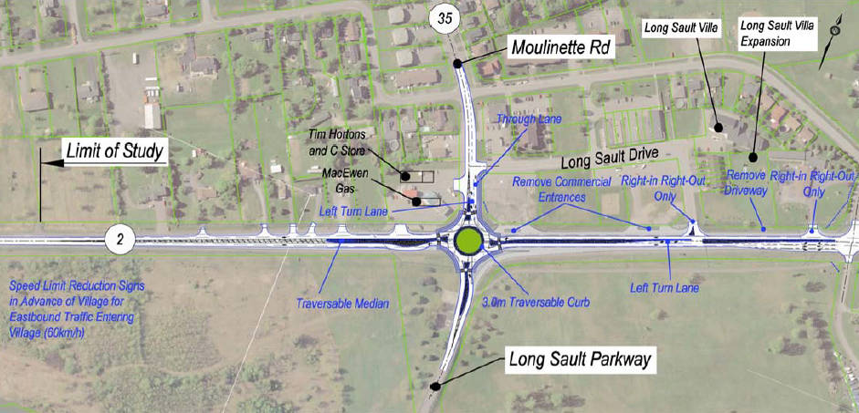 This diagram shows the plans for a roundabout in Long Sault, Ont. at the intersection of Moulinette Road and County Road 2. (Photo/BT Engineering)