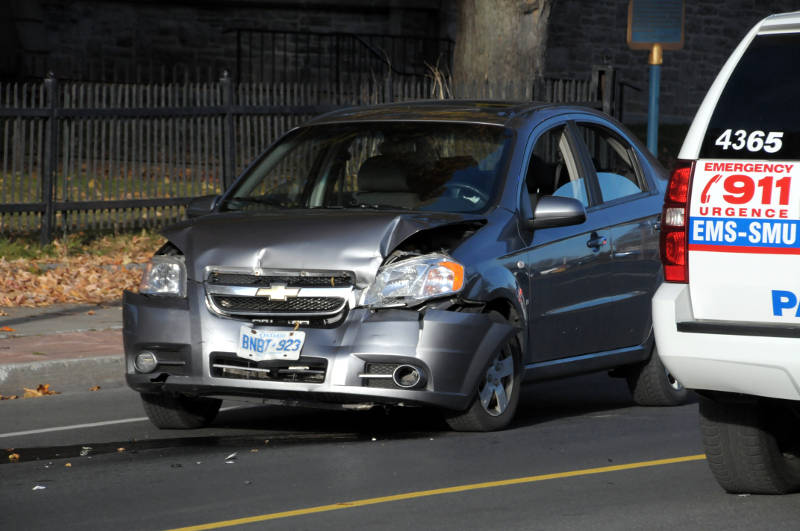 The driver of this Chevy Aveo has been charged with careless driving after a three vehicle crash in the westbound lane of Second Street near York Street on Oct. 27, 2015. The crash happened at the height of the afternoon rush hour. (Newswatch Group/Bill Kingston)