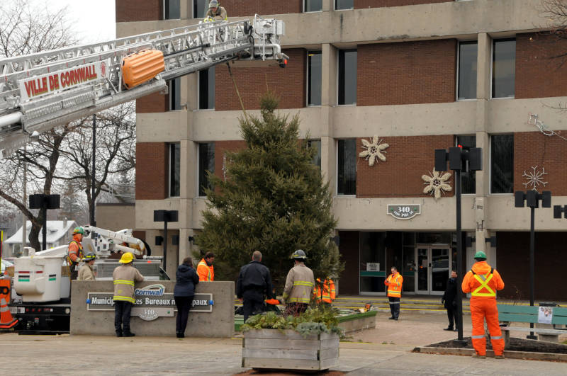 A Cornwall firefighter on the aerial truck talks with people on the ground Dec. 1, 2015 as a collective group puts up a Christmas tree outside the justice building on Pitt Street in Cornwall, Ont. The tree is back after police officer Brian Snyder and city employee Neil Dixon worked together to get several community groups to donate time and resources. (Newswatch Group/Bill Kingston)