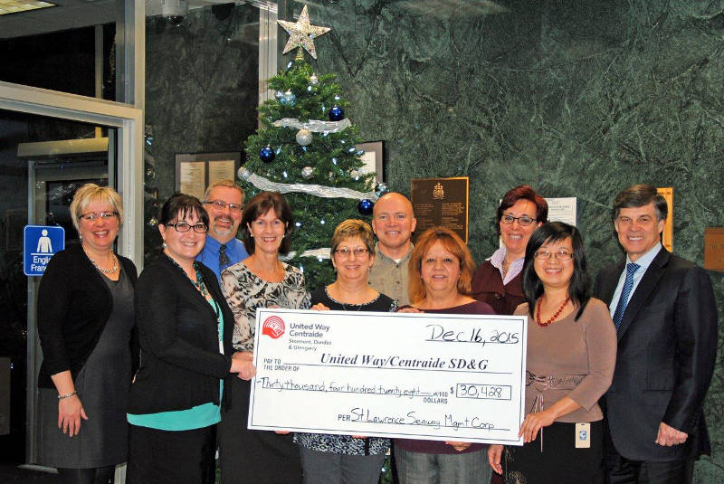 United Way St. Lawrence Seaway Mgmt Donation Dec1615 Edited