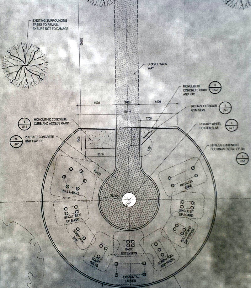 In this Dec. 8, 2015 sketmatic drawing provided by the Sunrise Rotary Club of Cornwall, several pieces of exercise equipment will be positioned in a semi-circle around a keyhole entry path with memorial stones. (Sunrise Rotary Club of Cornwall via Newswatch Group)