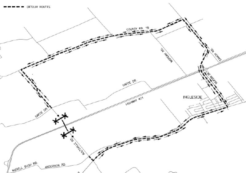 Aultsville Road Overpass Shutdown Detour Mar2516
