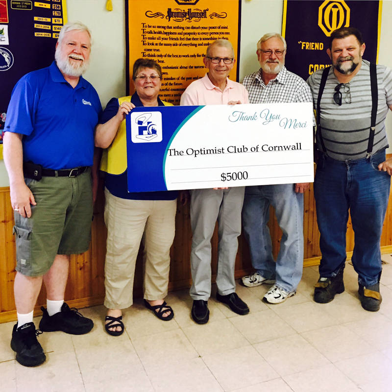 In this June 14, 2016 photo provided by the Cornwall Hospital Foundation, members of the Optimist Club of Cornwall present the foundation with a cheque for the soon-to-be-open addiction and mental health center. Pictured are Ralph Brunton, Cornwall Optimist Club President Anita Tremblay, CCH Foundation Board Chair Dale McSween, Service Clubs President Marvin Plumadore and Terry Muir. (Cornwall Hospital Foundation via Newswatch Group)