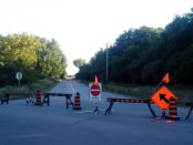 Barricades close off the north portion of Saunders Drive in Cornwall, Ont. on Tuesday, Aug. 23, 2016. The city says work to replace a large culvert should begin next month. (Newswatch Group/Bill Kingston)