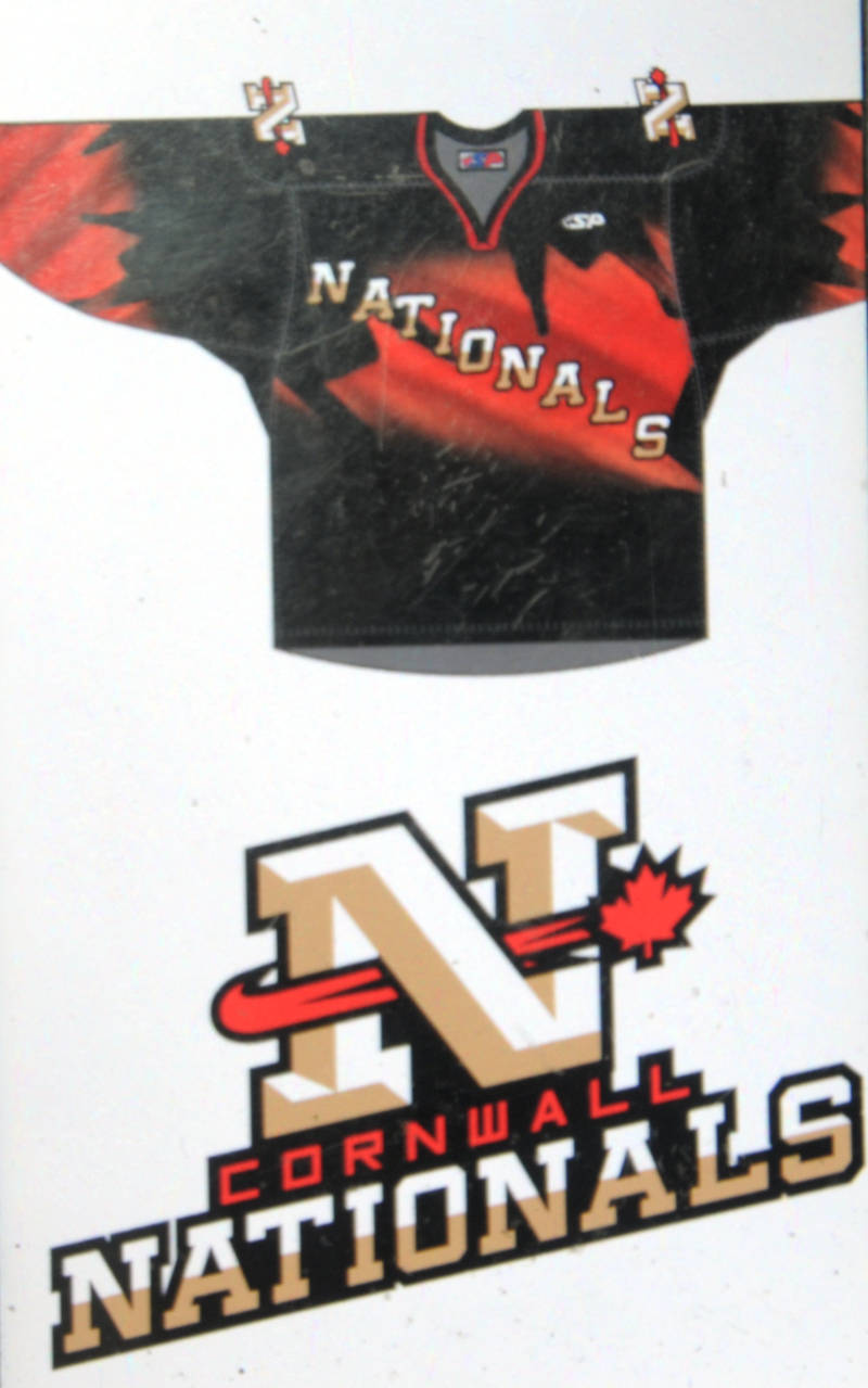 The Cornwall Nationals jersey and logo are unveiled on Saturday, Sept. 17, 2016 during a news conference at the Cornwall Civic Complex. The team will have its first skate on Oct. 8, 2016. (Newswatch Group/Bill Kingston)