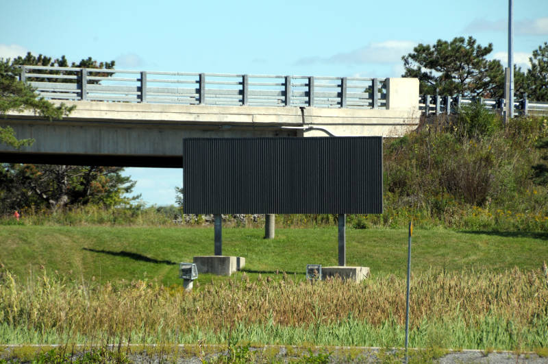 A new steel backboard at the Highway 401 Brookdale Avenue interchange on Thursday, Sept. 15, 2016 awaits new logos for the city. The new signs, which should be up by the end of October, are made from sturdier materials to handle the elements. (Newswatch Group/Bill Kingston)