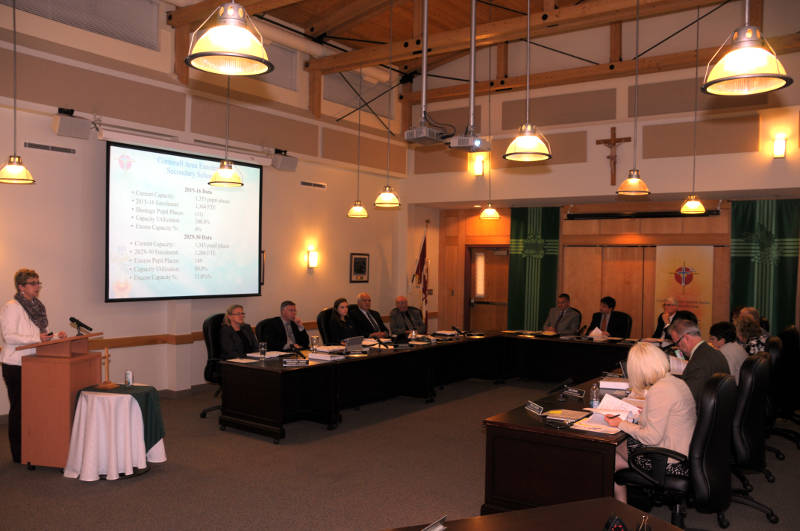 Bonnie Norton, the superintendent of business for the CDSBEO, presents the Pupil Accommodation Review to the board of trustees on Tuesday, Oct. 4, 2016. The provincially-triggered review of nine Cornwall schools could see the closure of four sites, along with consolidation, if the plan goes ahead. (Newswatch Group/Bill Kingston)