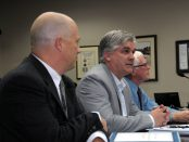 Ian Duff from McSweeney and Associates talks to Cornwall city council on Monday, Oct. 24, 2016 as the city's new economic development strategic plan is presented. With Duff are Senior Development Officer Bob Peters, left, and economic development plan committee chairman Glen Grant. (Newswatch Group/Bill Kingston)