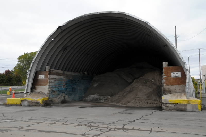 One of the two salt domes, built in 1975, is reaching the end of its life. Public Works Division Manager Bill de Wit says there's too much salt during the winter to store in the domes. The city uses 8,000 metric tons of salt a year. (Newswatch Group/Bill Kingston)