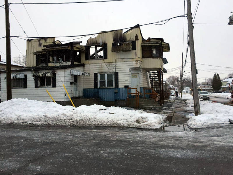 In this Saturday, Dec. 24, 2016 by Jamie Gibeau, the aftermath of a fire at a multi-unit apartment building at the corner of Gulf Street and Fourth Street West. (Jamie Gibeau/Facebook via Newswatch Group)